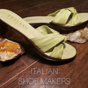 Italian Shoemakers Lime Green Knot-tie Sandal